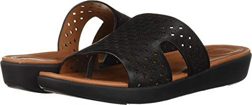FitFlop Women's H-BAR Slide Sandals-Latticed Leather, Black, 5 M US