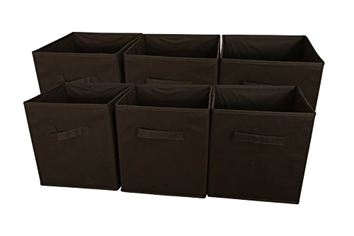 Sodynee® Foldable Cloth Storage Cube Basket Bins Organizer Containers Drawers, 6 Pack, Coffee (Famous Baskets)