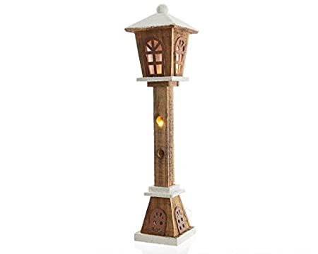 christmas decoration 60cm outdoor garden led victorian style wooden lamp post lantern with snow battery