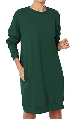Green Fleece Crewneck Sweatshirt - TheMogan Women's Casual Crew Neck Pocket Loose Sweatshirt Tunic Hunter Green S/M