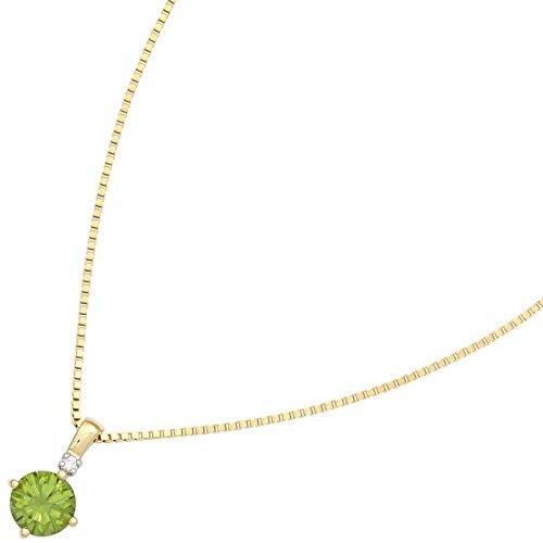 Pendentif avec & vert péridot rond brillant diamant or jaune 585 pour femme