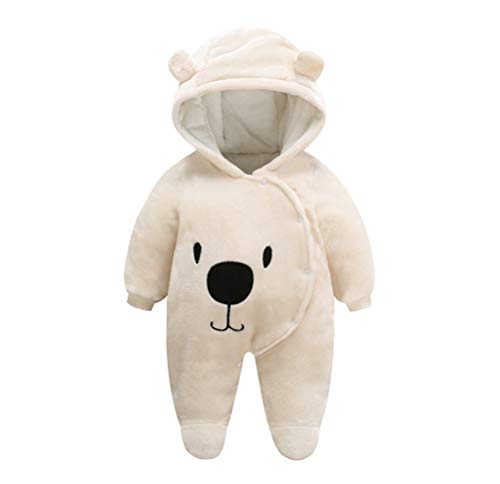 FeelMeStyle Newborn Baby Boy Girl Winter Jumpsuit Outfit Hooded Onesie Thick Bodysuit Romper Cartoon Dog Coat (Pure Beige, 3M(for 0-3M)) Dog Coats Winter Clothing Hooded