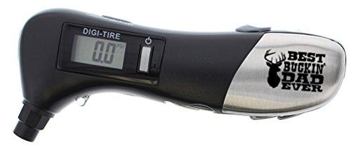 Deer Hunting Gifts Best Buckin' Dad Ever Digital Tire Pressure Gauge Multi Tool 9-in-1 Automotive Roadside Emergency Multitool