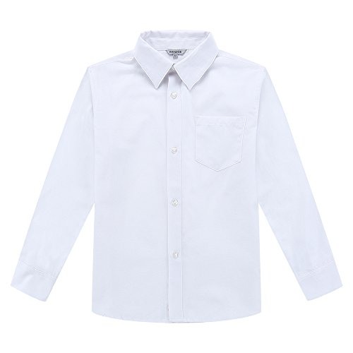 Bienzoe Big Boy's School Uniform Long Sleeve Button Down Oxford Shirt White (Button Cuff Oxford Shirt)