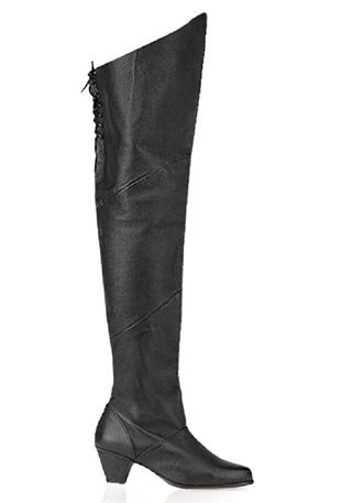 Pleaser Women's Maiden-8828 Medieval Boot,Black Pig Leather,11 M US