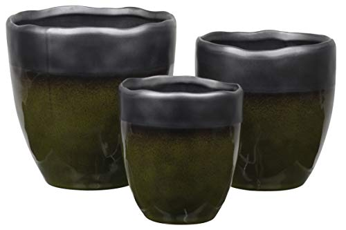 (Urban Trends Collection 11461 Stoneware Round Pot with Irregular Rim Mouth44; Black Banded Top44; Speckle Design Body & Tapered Bottom - Gloss Finish - Olive Green - Set of 3)