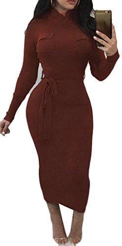 Cruiize Femmes Gaine Automne Hiver Crayon Moulante Solide Brun Robe Longue