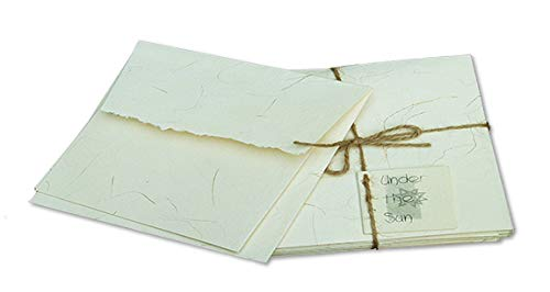 Handmade Ivory with Gold Envelope and Card, Set of 10, 3.5