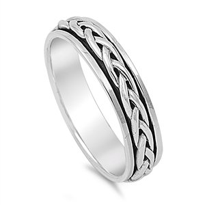 Sterling Silver 5mm Braided Spinner Ring - Size 6