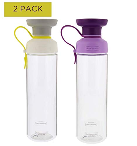 Rubbermaid Water Bottle Set, 2 Pack - 20 oz Reusable Water Bottles for On The Go Drinking With Convenient Carry Strap, Ideal For The Gym & Travel - Twist Off Cap, Easy Refill & Dishwasher Safe