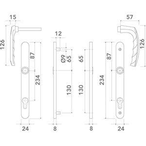 Pour porte d/épaisseur:58 /à 67 mm D/écor:Beige Ensemble de porte atlanta 113kh//300lmsgl//1530 ITAR