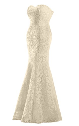JinXuanYa Women's Lace Wedding Dress Mermaid Evening Dress Free with belt (6, champagne)
