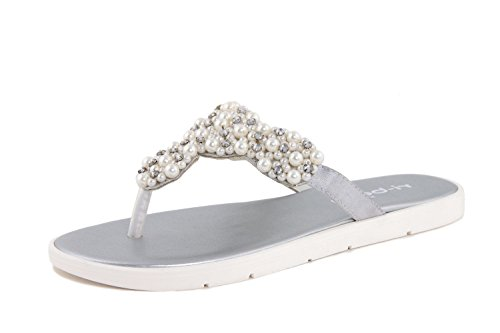 RI-BELLE - Sandalias de Lona para mujer plateado Pearl