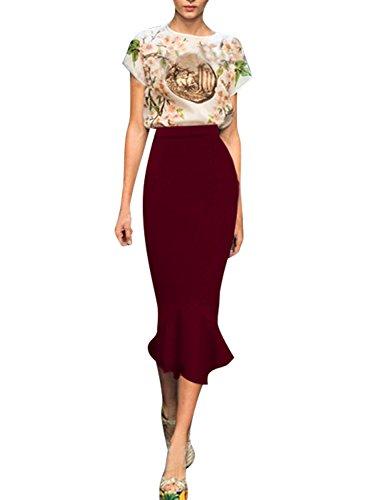 Forlisea Womens Elegant Hight Waist Bodycon Mermaid Pencil Maxi Skirt