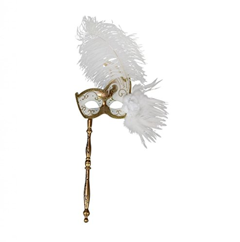 KAYSO INC Hand Held Venetian Masquerade Stick Mask w/ Hand Painted Swan Design -