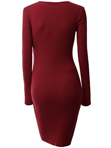 Dao Guan Femmes Col V Décolletée Bandage Croix Manches Longues Robe Tricot Moulante Rouge