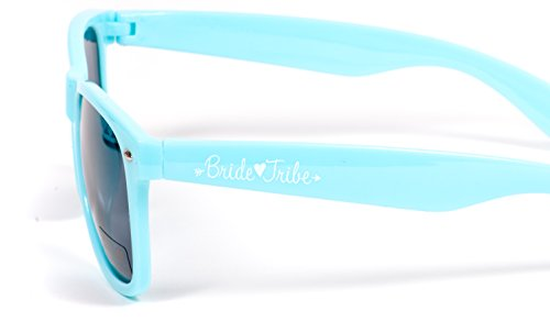 Bride Tribe Bachelorette Sunglasses in Turquoise Blue with White Bride Sunglasses (8 Piece - Beach Wedding Sunglasses