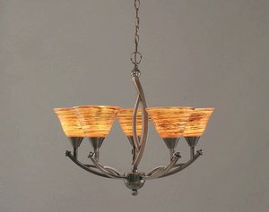 454 Bow - Toltec Lighting 275-BC-454 Bow - Five Light Chandelier, Black Copper Finish with Firre Saturn Glass