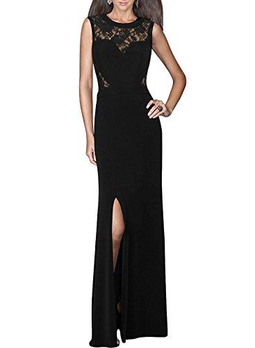 MISSMAY Women's Formal Elegant Floral Evening Wedding Ball Gown Maxi Long Dresses S Black