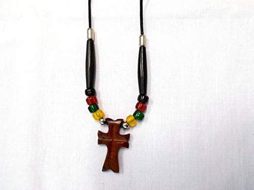Exotic Carved Rose Wood Cross Pendant Glass Rasta Color Accent Beads Necklace KEZ-3981