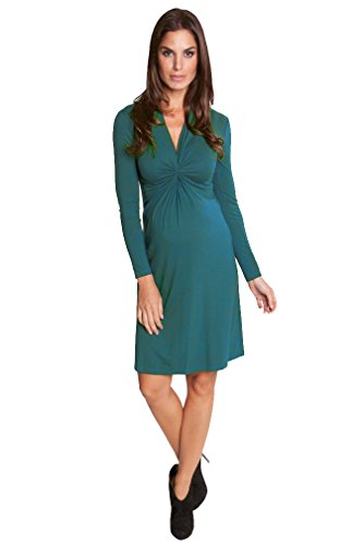 Olian Lucy Long Sleeve V Neck Maternity Knee Length Dress (Medium, Teal)