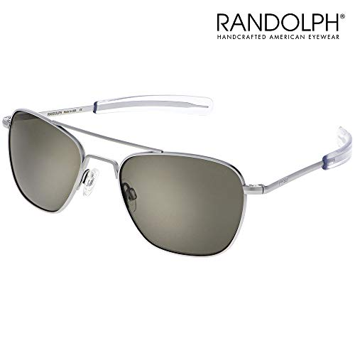 Aviator Sunglasses for Men or Women - Randolph Engineering Sunglasses - Guaranteed for Life, Built to Military Specifications. Authentic Pilot Aviators. Made in USA. Matte Chrome, American Gray, ()