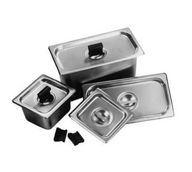 Carlisle DuraPan Steam Table Pan Cover, 1/6 size, slotted, solid, flat, lift-off, recessed handle, dishwasher safe, 24 gauge 18/8 stainless steel, 607160CS by Carlisle
