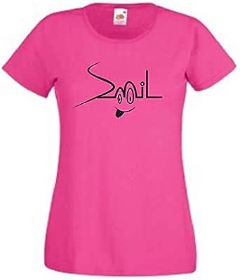 Rose Round Neck Smile T-Shirt For Women