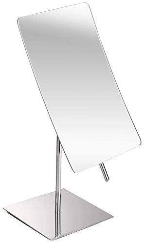 Modern Rectangle Vanity Makeup Mirror 100% Guarantee | Portable Polished Chrome Contemporary Finish | Adjustable Easy Positioning | Best Luxury Quality Magnifying Beauty Mirror ()