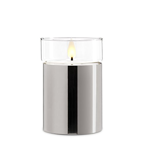 Silver Flameless Candle with Realistic Flame - Poured Wax, Removable Glass Top, Warm White LED, Timer, Remote Ready, Batteries Included