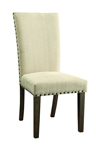 Cheap Webber Upholstery Side Chairs with Nailhead Trim Tan and Driftwood (Set of 2)