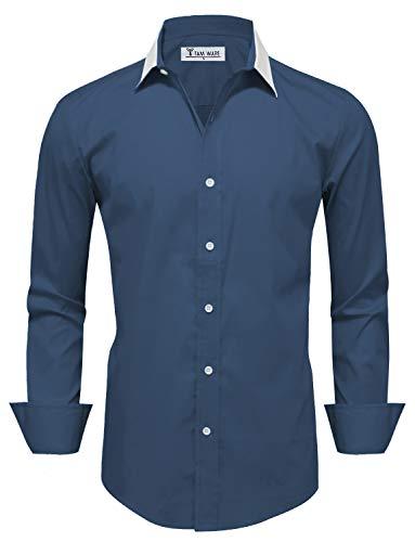 TAM WARE Mens Stylish Colorblocked Long Sleeve Dress Shirt TWCMS09-NAVY-US XL