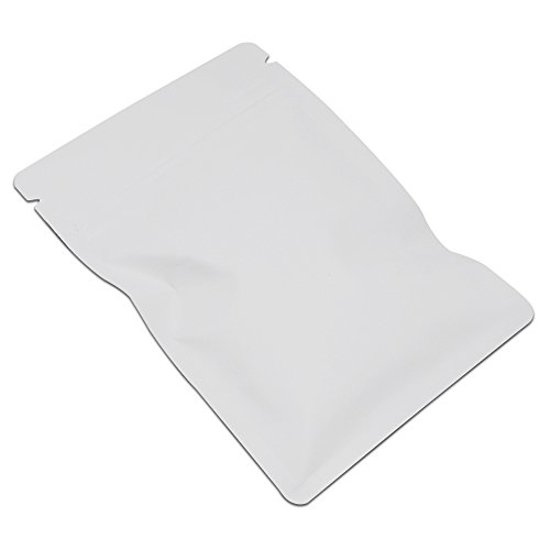 8x12cm (3.1''x4.7'') White Matte Aluminum Foil Grocery Bulk Food Storage Pack Reclosable Mylar Zip Lock Pouch Heat Commercial Bag Sealers Nut Coffee Tea Wrap Smell Proof with Tear Notches 1500 Pcs by BAT Pack (Image #5)