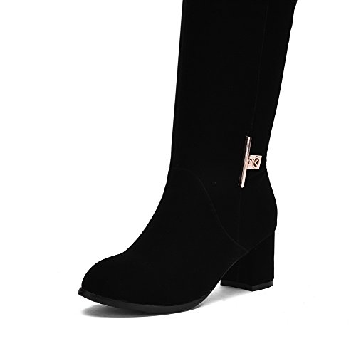 Allhqfashion Dames Solide Kitten-hakken Gesloten Ronde Neus Geïmiteerd Suède Aantreklaarzen Zwart