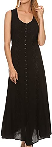 Sakkas 15221 - Maya Floral Embroidered Sleeveless Button Up Rayon Dress - Black - 3X/4X (Sakkas 3x)