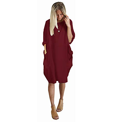XIONGMEI Women's Long Sleeve Crewneck Tunic Top Dress Oversized Causal Loose T-Shirt Dress with Pocket Wine Red,L
