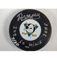 Signed Bryzgalov, Ilya (Anaheim Mighty Ducks) Anaheim Mighty Ducks Hockey Puck with Stats and individually numbered autographed