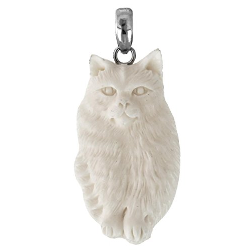 Siamese Cat Hand Carving Buffalo Bone 925 Sterling Silver Pendant, 2