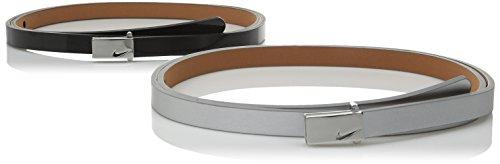 Nike Women's Sleek Modern Two-For-One Skinny Belts, Black/Silver, Large