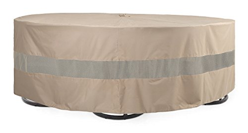 SunPatio Round Veranda Patio Table Chair Set Cover Extremely Lightweight Water Resistant EcoFriendly Helpful Air Vents Dia96 x 30H