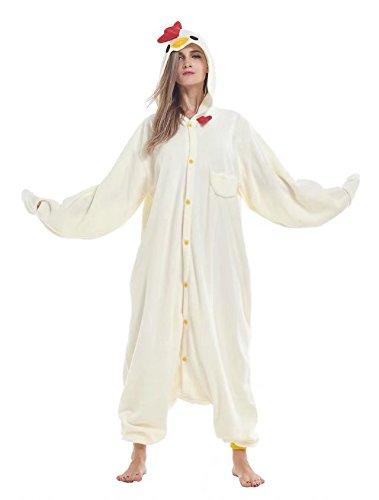 Mens Chicken Costumes - Fudeersiu Halloween Animal Sleepwear Unisex Pyjamas For Adult Chicken Cosplay Costume