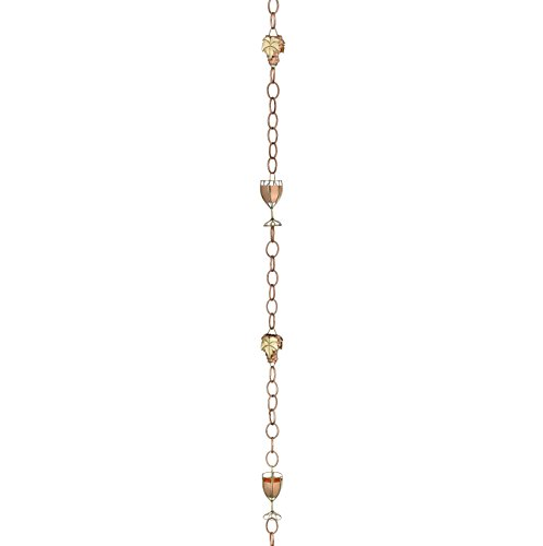 8.5' Glass (Good Directions Wine and Glasses Pure Copper 8.5-Foot Rain Chain)