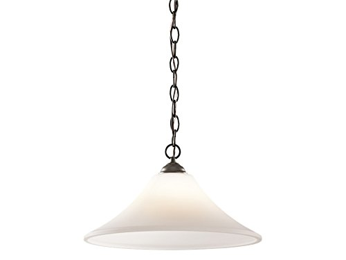 Kichler  43510OZ Keiran 1-Light Pendant and Satin Etched Glass Shade, Olde Bronze Finish