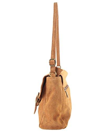 SA006221GE con histoireDaccessoires Camel Pardo Severino OE Bolso de de Cuero Bandolera Mujer fFCfwU
