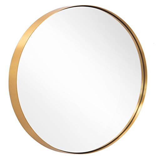 Round Mirror for Bathroom, Gold Circle Mirror for Wall Mounted, 30'' Modern - Brass Bathroom Mirrors Large