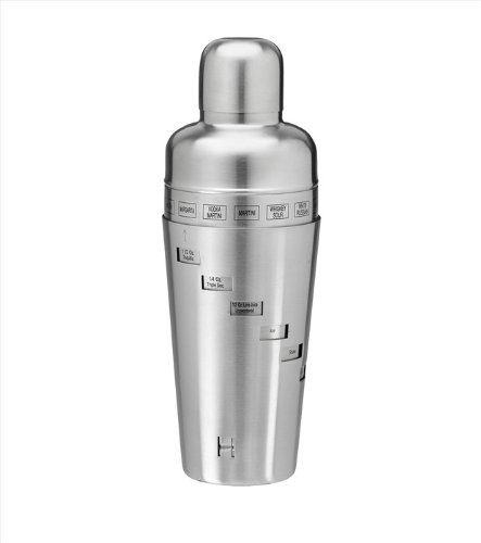 Kraftware Brushed Stainless Steel 32-Ounce Recipe Cocktail Shaker