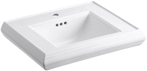 KOHLER K-2239-1-0 Memoirs Pedestal Bathroom Sink Basin with Single-Hole Faucet Drilling, White