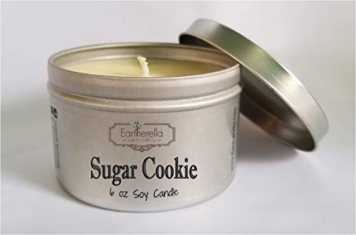SUGAR COOKIE Natural Soy Wax 6 oz. Tin Candle, long 40+ hour burn time