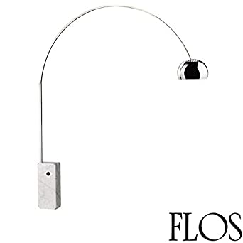 Elegant Flos Arco 100W Incandescent Stainless Steel Marble Floor Lamp Made In Italy