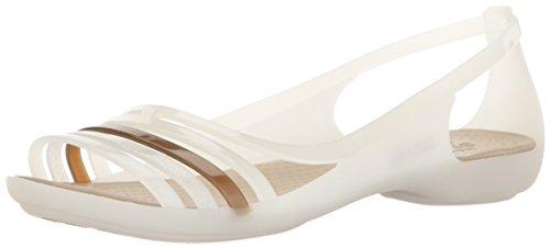 Crocs Women's Isabella Huarache W Flat, Oyster/Walnut, 11...